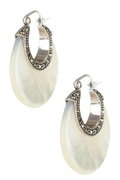 mothe-of-pearl & marcasite crescent earrings.