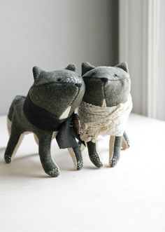 foxes in love / soft sculpture animals by ohalbatross on Etsy, $156.00
