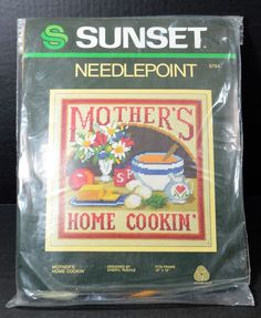 "VTG Wool Needlepoint Kit 1981 Sunset Mother's Home Cookin' 6794 Size 16 x 16"" #SunsetDesigns"