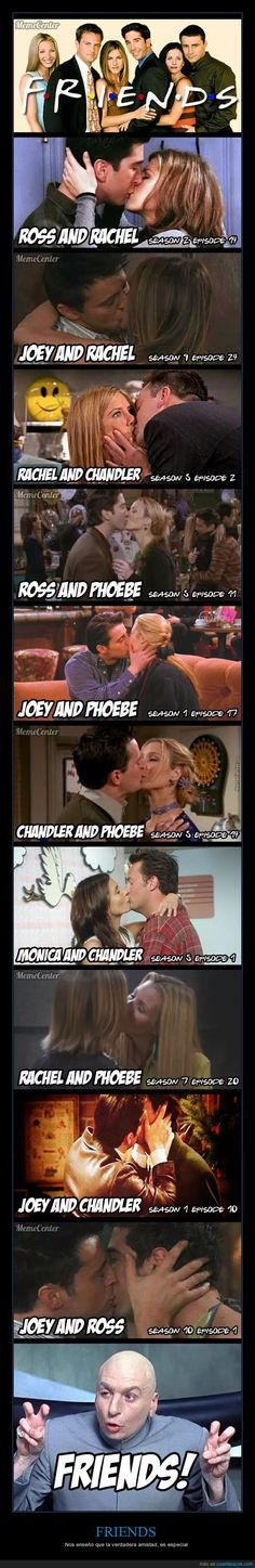 Only Monica & Rachel and Chandler and Ross (and no, Monica and Ross is not an alternative) is missing <<< didn't monica and rachel kiss to get their apartment back tho oof Friends Tv Show, Tv: Friends, Friends Funny Moments, Friends Tv Quotes, Friends Scenes, Funny Friend Memes, Friends Poster, Friends Cast, Friends Episodes