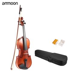 ammoon 3/4 Solid Wood Antique Violin Fiddle Matte Finish Spruce Face Board with Hard Case Bow Rosin