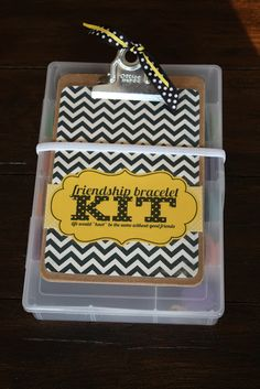 Friendship Bracelet Kit DIY - cute and easy she would use the clipboard for school probably