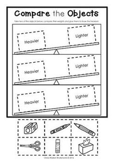 Kindergarten Measurement Worksheets Weight Worksheets Non Standard Measurement Kindergarten Measurement Kindergarten, Preschool Assessment, Measurement Worksheets, Kindergarten Math Activities, Preschool Math, Kindergarten Worksheets, Math Classroom, Teaching Math, Maths