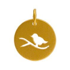 #ninacharms 24K Gold Plated Sterling Silver Bird Charm