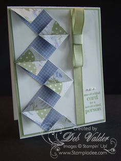 handmade card: Build a Chevron Pattern with Deb Valder ... this is a WOW technique to show off beautiful two-sided patterned paper ... strips are placed at right angles and the mitered corners are left on to move off the page with wing-like appearance ... great idea ... luv the Whisteria and green colors cued in by the printed colors ... Stampin' Up!