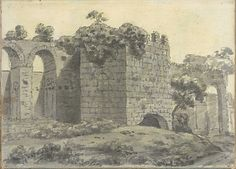 Joseph wright, Roman Ruins Including an Arched Aqueduct and Tower