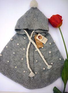 ALPACA WOOL Baby poncho with hood Hand knit in by febressfashion