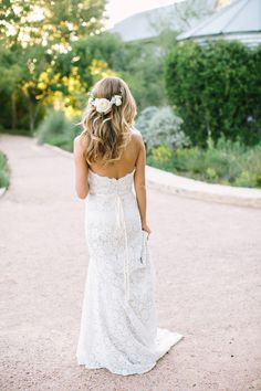 floral crown and strapless lace dress by jim hjelm