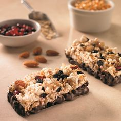 Chocolate-Dipped Popcorn Power Bars with Blueberries, Almonds, and Pomegranate (dairy-free, gluten-free, vegan option)