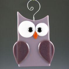 Fused Glass Owl Suncatcher - Lilac & Purple (131). $13.00, via Etsy.