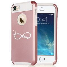 Amazon.com: Apple iPhone 6 Plus / 6s Plus Rose Gold Shockproof Impact Hard Case Cover Infinity Love Nursing Stethoscope (Rose Gold / White): Cell Phones & Accessories