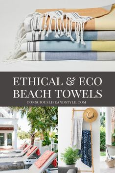 Splash into summer with these ethically-made and eco-friendly beach towels and blankets perfect for picnicking and lounging by the pool or sea. There's really nothing quite like a vibrant oversized towel or bright blanket to instantly put you into vacation mode.  Sustainable Beach Towels | Organic Beach Towels | Eco-Friendly Picnic Blankets | #ConsciousStyle Recycled Blankets, Turkish Cotton Towels, Circular Economy, Responsible Travel, Pool Towels, Consumerism, Decorative Throws, Mediterranean Style, Picnic Blanket