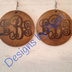 Wooden Monogrammed Earrings