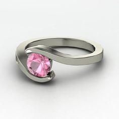 Round Pink Tourmaline Sterling Silver Ring - Ocean Ring | Gemvara