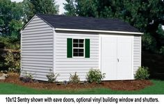 Vinyl shed shown here. 10 x 12 Sentry. Beautiful, maintenance-free vinyl siding combined with the durability and strength of wood framing provides an exceptional storage solution. Traditional Sheds, Vinyl Sheds, Barn Style Shed, Building A Shed, Vinyl Siding, Shed Plans, Storage Solutions, Backyard, Outdoor Structures
