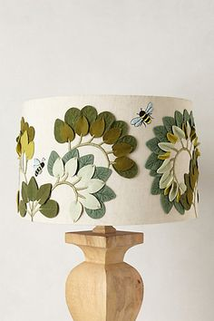 Anthropologie lamp shade - great knock off Idea Lamp Shade Crafts, Anthropologie Home, Painting Lamps, Felt Leaves, Antique Lamps, Bees Knees, Lamp Shades, Home Lighting, Quilting Projects