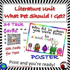 "This is a literature Unit using the Dr Seuss book ""What should I Get for a Pet?"" Teaching young students to think and make connections as they read. Also to introduce them to critical thinking and making choices skills by ""Would you rather"" Tasks; these a"