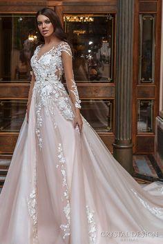 crystal design 2017 bridal long sleeves v neck heavily embellished lace embroidered romantic princess blush color a line wedding dress sheer back long monarch train (aniya) sdv