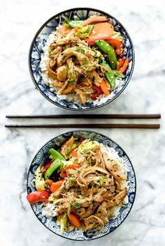 Slow Cooker Teriyaki Chicken and Vegetables Rice Bowls | foodiecrush.com #crockpot #slow #cooker #teriyaki #chicken #rice #bowls #recipe