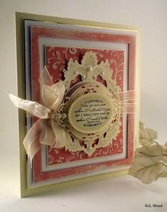 This week, so far, seems like a pastel week because today's' card is another pastel this time peach. Wedding Anniversary Cards, Wedding Cards, Becca Feeken Cards, Shabby Chic Cards, Spellbinders Cards, Card Tricks, Die Cut Cards, Vintage Cards, Sue Wilson