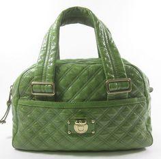 MARC JACOBS Green Quilted Patent Goatskin Leather Ursula Bowler Shoulder Handbag at www.ShopLindasStuff.com