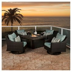 Rst Brands Deco 5 Piece Woven Motion Club Chair and Fire Chat Set with Bliss Blue Cushions, Sky Blue