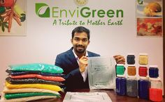 """Hegde founded EnviGreen and began to tinker with ways to make plastic-like substances that would be: """"100 percent organic, biodegradable, and eco-friendly.""""</p>"""