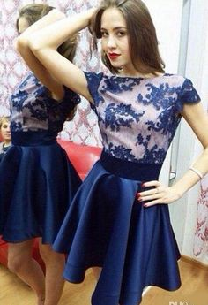 New Arrival Beautiful Royal Blue A Line Lace