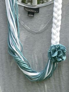 muted teal and white upcycled t shirt scarf on etsy xfunshopping. Yarn Necklace, Fabric Necklace, Scarf Jewelry, Fabric Jewelry, Diy Jewelry, Jewelery, Beaded Necklace, Beaded Jewelry, Diy Scarf