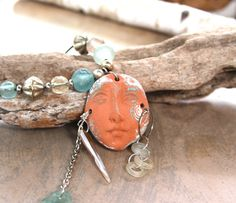Sand and Sea Goddess Necklace Pottery Face Shard door CatchingWaves Ring Necklace, Jewelry Necklaces, Jewellery, Ocean Jewelry, Gifts For Nature Lovers, Ancient Romans, Hippie Chic, Lovers Art, Crystal Rhinestone