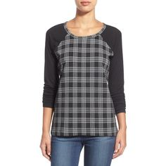 Sanctuary Clothing Plaid Baseball Tee ($25) ❤ liked on Polyvore featuring tops, t-shirts, flawless plaid, long sleeve t shirt, long sleeve tee, baseball style t shirts, baseball tee shirt and crew neck tee