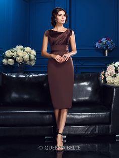 Sheath/Column Sleeveless Knee-Length Satin Mother Of The Bride Dresses