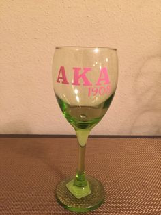 Alpha Kappa Alpha 1908 Wine Glass by SJsCraftyCreations on Etsy Aka Sorority, Alpha Kappa Alpha Sorority, Sorority And Fraternity, Alpha Shirt, Glitter Wine Glasses, Happy Mother S Day, Pink And Green, Crafty, Party Party