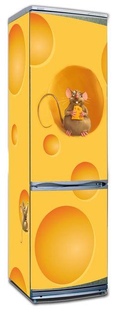 refrigerator vinyl Просили сделать наклейку на холодильник, с сыром и очень сытой мышью. Сделали, но мыши теперь отказываются уходить)