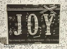 Stampin' Up! eclipse card with merry music dsp. Love the joy in music dsp. Musical Christmas Cards, Christmas Words, Christmas Paper Crafts, Christmas Gifts, Christmas Decorations, Stampin Up Christmas 2018, Christmas Cards 2017, Xmas Cards, Alphabet Cards