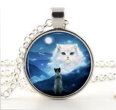 Cat Necklace Pendant  Cat Jewelry  Fantasy by BazingaJewellery