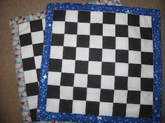 Homemade cloth checker boards. I love this idea!! I think I will go to hobby lobby and get a piece of checker board fabric. for the checkers, I think I will either use round wooden pieces and put racing stickers on them or paint them green and yellow. For the edges, I'm going to use checkerflag duct tape. love!!