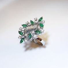 Emerald Diamond Ring 1950s Ring Mid Century Ring by SalonUber