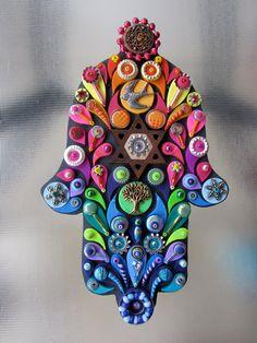 Judaica Art Embellished Hamsa