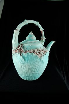 Unique Leafy Rosey Garden Teapot Red and Blue Glazes- Large. $140.00, via Etsy.