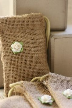 jute burlap gift bags SmALL PLAIN WhiTe x10 by papermoonbyKAT, $12.50