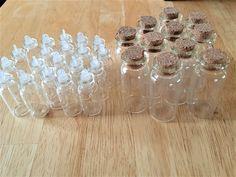 31 Mini glass vial bottles - mini glass vials - bottles for jewelry making/glitter/paints/crafts - miniature glass vial bottles