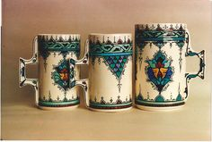 Iznik cups. Designed by Sylvia Godlas and produced by Khadijah Chadly. These look like they would be very comfortable in the hand.