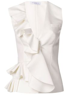 Viktor & Rolf ruffle front vest tank and other apparel, accessories and trends. Browse and shop 8 related looks. Top Chic, Bow Shirts, White Shirts, Viktor Rolf, Mode Style, White Fashion, Corsage, Fashion Outfits, Womens Fashion