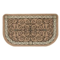 Flame-Resistant Hearth Rug – Tan Scroll