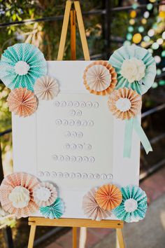 Layered Paper Rosettes Welcome Sign for Wedding/ Bridal Shower / Birthday Party/ Baby Shower  {KaLice Events}