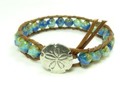 Leather beaded wrap bracelet,  sea and sand, blue nugget beads, with Danforth pewter sand dollar, distressed leather, wrap bracelet. really loove this and want ot get one!!!!!!!!