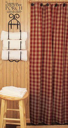 Wine Teadyed Buffalo Check Shower Curtain