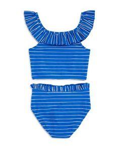 Habitual Kids Girls' Briar Textured Stripe Ruffled Two-Piece Swimsuit - Big Kid Kids - Bloomingdale's Swimsuits For Tweens, Little Girl Swimsuits, Cute Swimsuits, Two Piece Swimsuits, Girls Mermaid Tail, Multiplication Chart, Flounce Bikini, Kids Suits, Girls Bathing Suits
