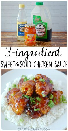 3 ingredient sweet and sour chicken sauce - My husband loved this recipe for dinner! chicken recipes for dinner Chicken Sauce Recipes, Sauce For Chicken, Crockpot Recipes, Cooking Recipes, Healthy Recipes, Sauce For Rice, Meatball Recipes, Lunch Recipes, 3 Ingredient Orange Chicken Recipe